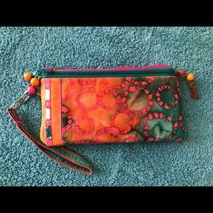 Handmade Batik Clutch with beaded zipper tassel